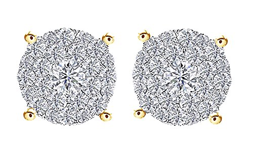 14K Yellow Gold Over Sterling Silver Cubic Zirconia Hip Hop Cluster Stud Earrings by wishrocks