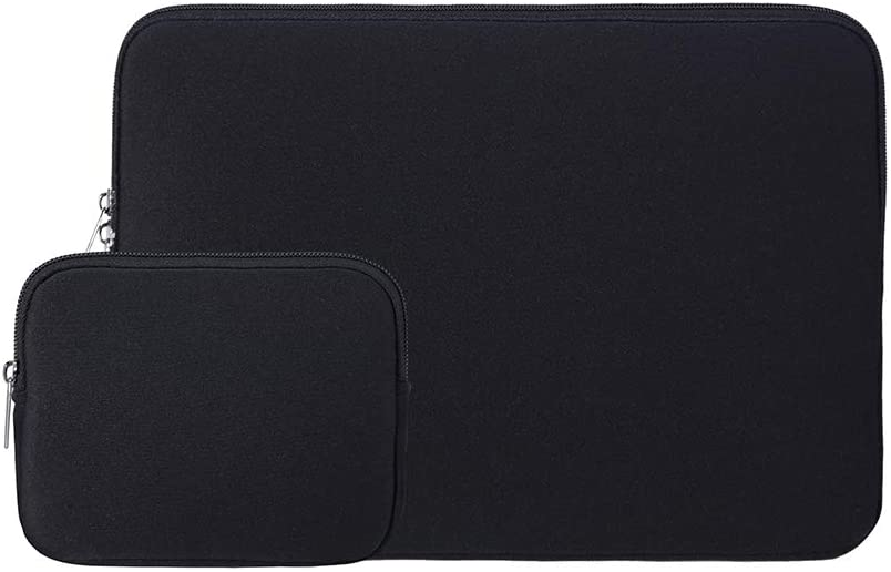 "RAINYEAR 15.6 Inch Laptop Sleeve Protective Case Soft Carrying Zipper Bag Cover with Accessories Pouch, Compatible with 15.6"" Notebook Computer Ultrabook Chromebook(Black)"