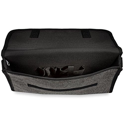 Cadenis Collegetasche mit persönlicher Laser-Gravur Umhängetasche aus Filz graphit mit Schultergurt und Klettverschluss 39 x 32 x 6 cm