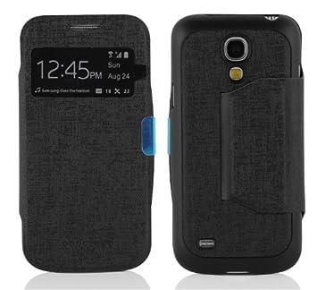 Cadorabo Carcasa Compatible con Samsung Galaxy S4 Mini Móvil En óxido Negro Teléfono móvil en View con Ventana Case Cover Funda para portatil