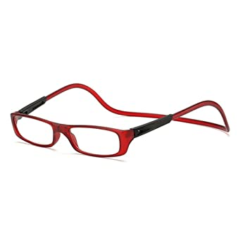 2ba01c5ed29d Tsond 1PC Unisex Magnet Reading Glasses Adjustable Hanging Neck Presbyopic  Glasses (Wine Red) (
