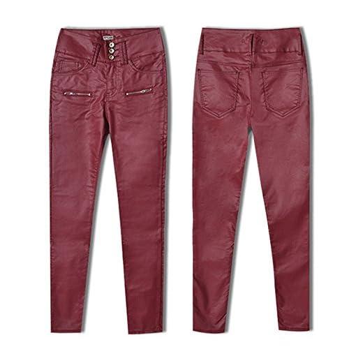 60%OFF YOLLmart Women's Slim Biker Faux Leather Pants Trousers Clubwear