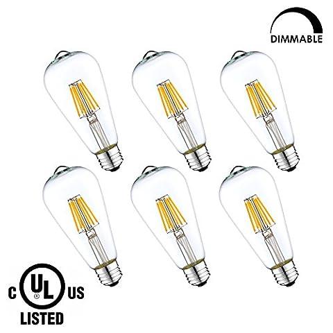 LightStory LED Filament Bulb ST19 6W, Clear LED Edison Bulb, 60W Equivalent , E26 Base, 2700K, Dimmable LED Bulb, UL Listed (6 (60w Led Edison Bulb)