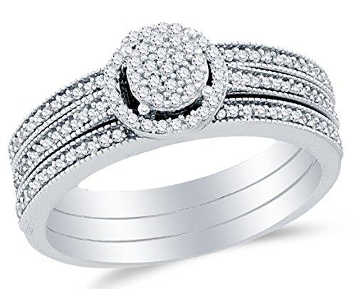 Size 8.25 - 10K White Gold Round Diamond Halo Circle Bridal Engagement Ring & Matching Wedding Band Two Piece Set - Channel Set Round Center Setting Shape (1/3 (White Diamond Circle Ring)