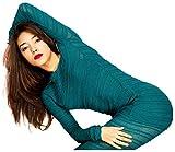 Teal Medium Dance Yoga Mesh Shadow Stripe Sweater Tunic Stretch Knit KD dance Sexy Warm & Cozy Loungwear Made In USA