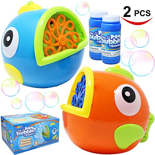 JOYIN 2 Pack Bubble Machines for Kids, Automatic Bubble Blowers, Bubble Makers, Bubbles Party Favors Supplies, Summer Toy, Outdoor / Indoor Activity Use, Birthday Gifts by JOYIN