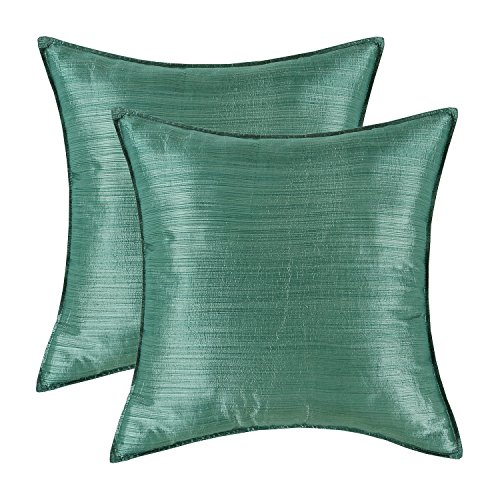 (CaliTime Pack of 2 Silky Throw Pillow Covers Cases for Couch Sofa Bed Modern Light Weight Dyed Striped 18 X 18 inches Hunter Green)