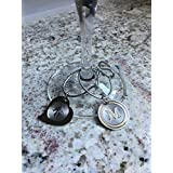 Stainless wine glass charms, sexy heart or round monogram, set of 4.