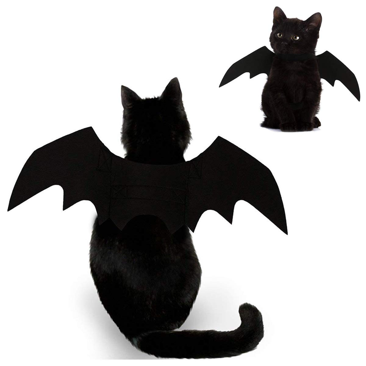 Foogles Cat Halloween Costume - Black Cat Bat Wings Cosplay - Pet Costumes Apparel for Cat Small Dogs Puppy - Cat Collar Leads Dress Up Accessories