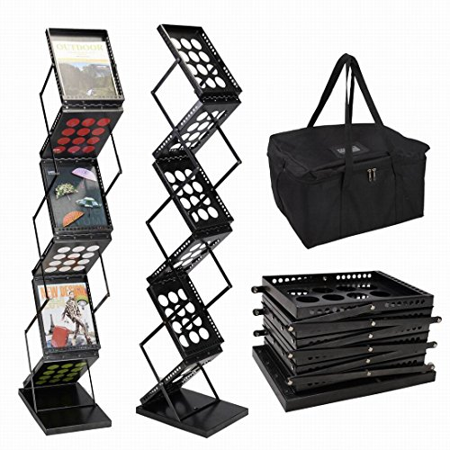 Safstar Brochure Display Stand Magazine Display Rack Literature Holder Floor Standing Pop-up Folding Metal Black 6 Pockets for Trade - Collapsible Literature Stand