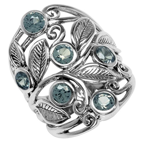 Simulated Color Change Alexandrite White Gold Plated 925 Sterling Silver Filigree Leaf Ring Size 5 - 9