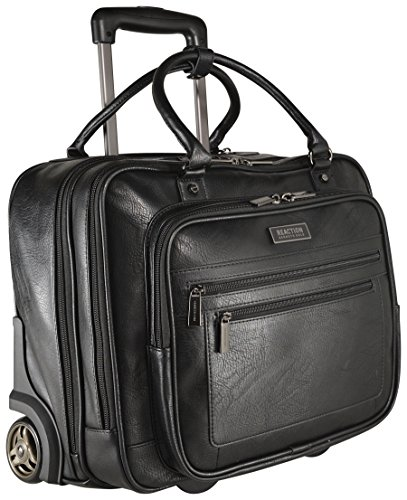 Kenneth Cole Reaction Wheel Fast Double Compartment Top Zip Wheeled Computer Case Overnighter (Black) (Wheeled Case Padded Hardside)