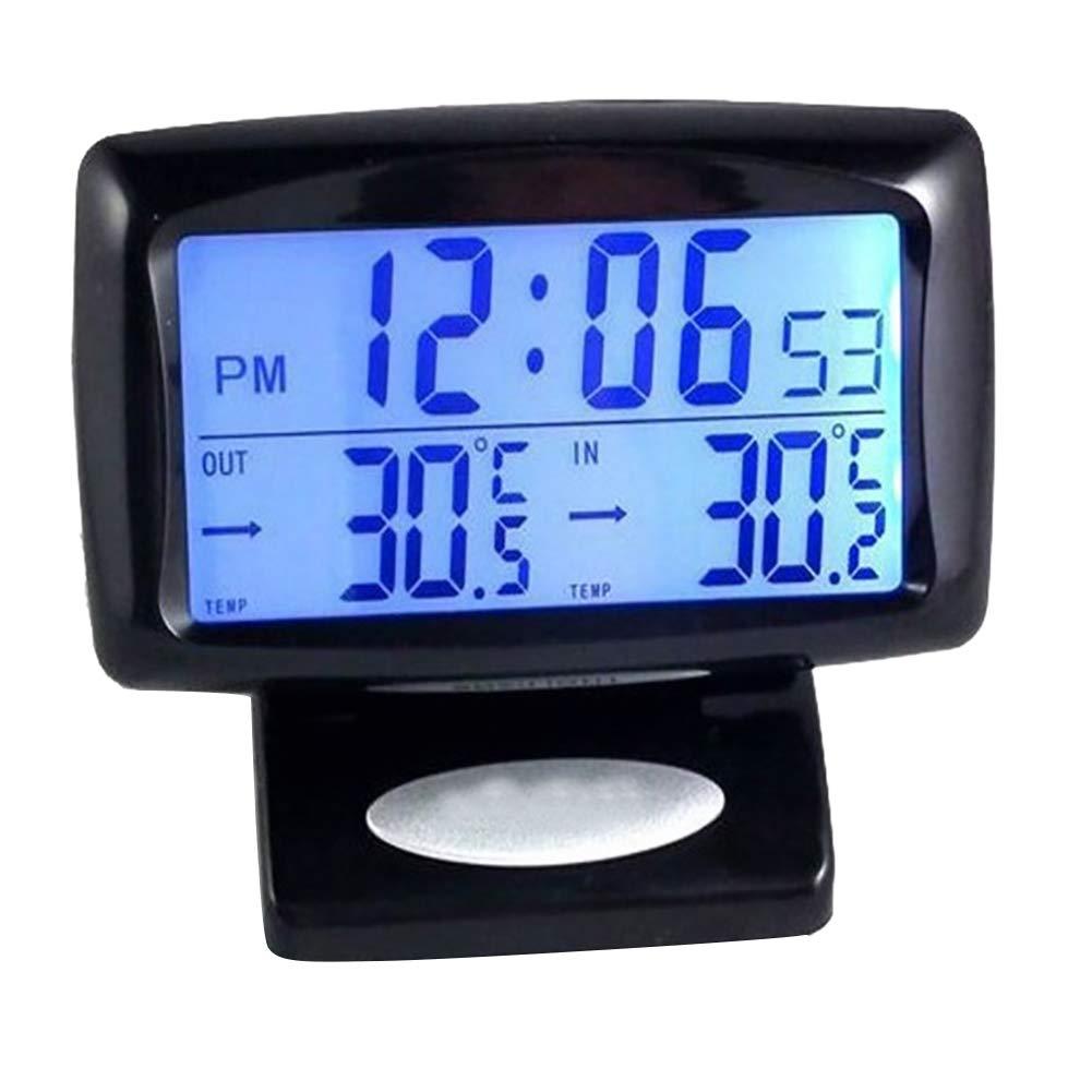 VelvxKl /Misuratore di Temperatura di Orologio termometro LCD Digitale LED Veicolo Squisito con retroilluminazione Black