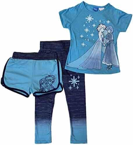 56d992413178c Disney Frozen Elsa & Anna Girls' 3-Piece Tee, Shorts & Leggings Set