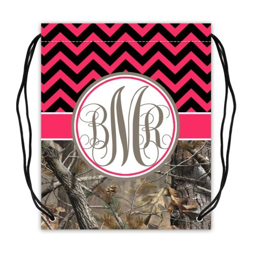 Brand-New-Girl-Hot-Pink-and-Black-Chevron-and-Camo-Monogrammed-Initials-Basketball-Drawstring-Bags-Twin-Sides