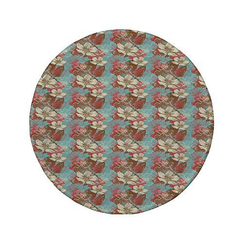 Non-Slip Rubber Round Mouse Pad,Abstract,Vintage Color Scheme with Floral Arrangement Wildflowers Foliage Valentines Day Decorative,Multicolor,7.87