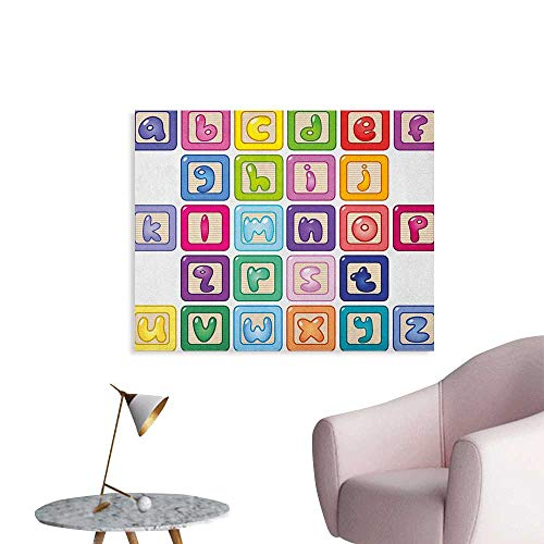 Anzhutwelve Educational Wallpaper Colorful Lower Case Alphabet Blocks Cute Kids Font ABC Cartoon Style Typography Custom Poster Multicolor W36 xL32