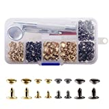 #3: YMAISS 120 Sets Leather Rivets Double Cap Rivets with Fixing Tool Kit for Leather Craft Repairing Decoration, 2 color 2 size, gunmetal black and gold