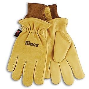 KINCO 94HK-XL Men's Lined Grain Suede Pigskin Gloves, Heat Keep Lining, X-Large, Golden
