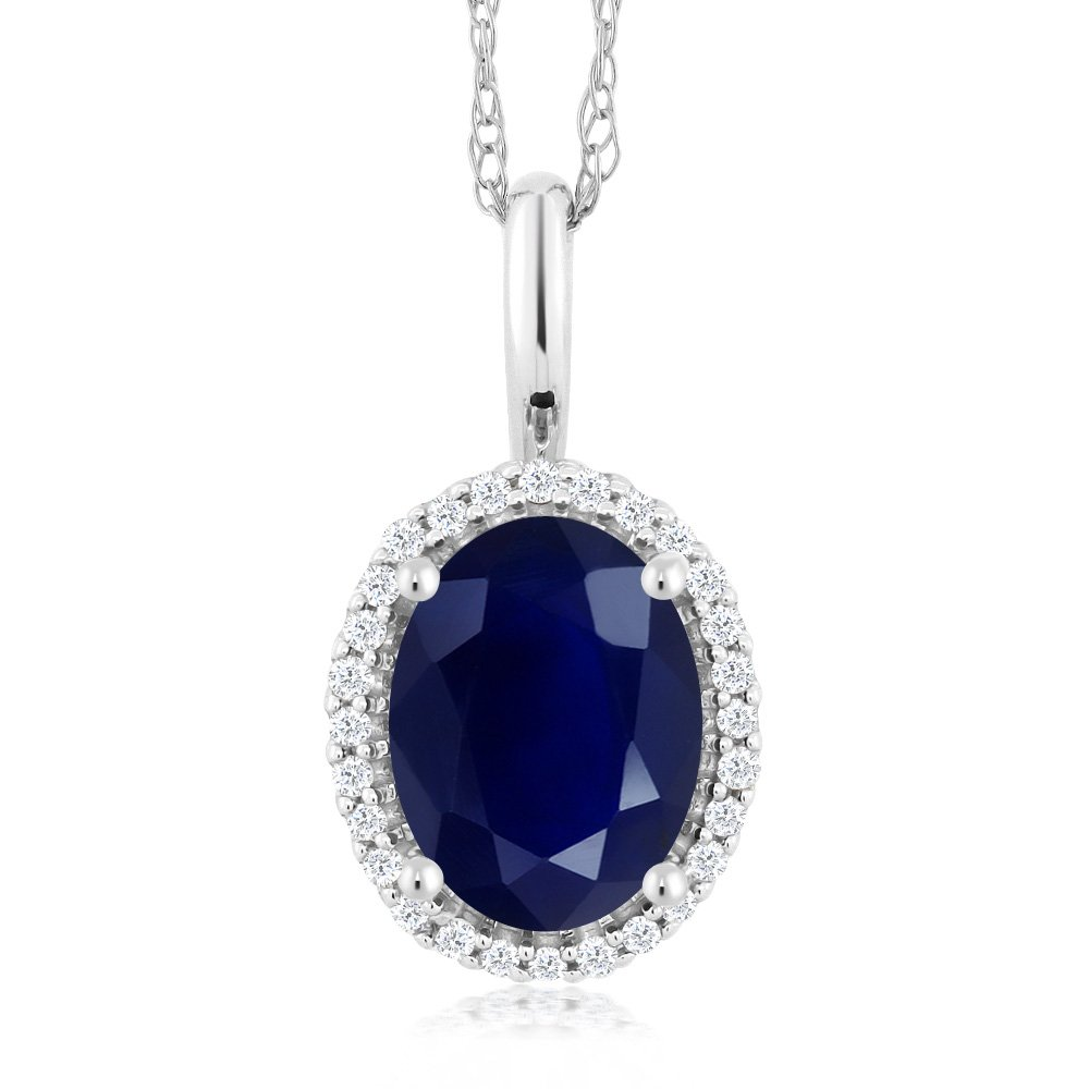 Gem Stone King 10K White Gold Blue Sapphire and Diamonds Women's Halo Pendant Necklace, 1.79 Cttw Oval with 18 Inch Chain by Gem Stone King