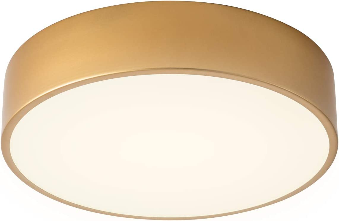 Lanros Modern Gold Flush Mount LED Ceiling Light Fixture, 13.8-inch Simple Drum Ceiling Lighting with 4000K Neutral White for Dormitiry Hallway Bedroom Foyer Kitchen,18W, 1530LM, Non Dimmable