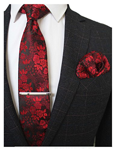 JEMYGINS Silk Red Floral Necktie and Pocket Square, Hankerchief and Tie Bar Clip Sets for Men (1) -