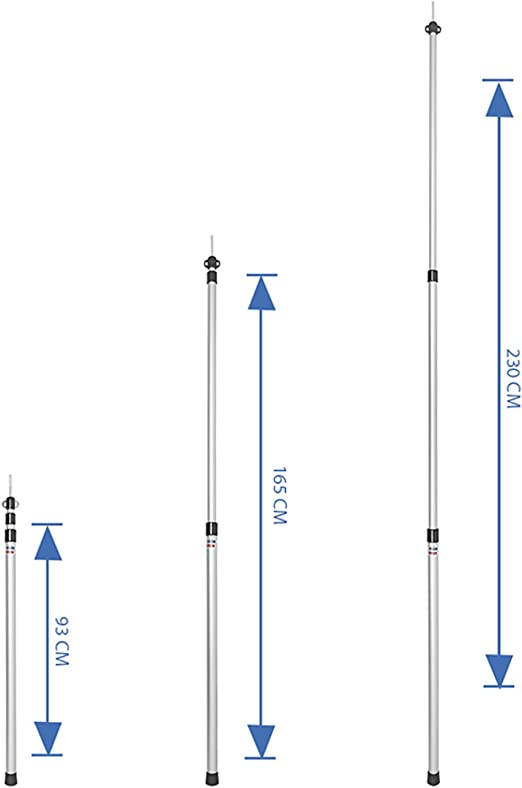 JUSTCAMP Scope Aluminio Varilla Telesc/ópica Camping 95-230cm