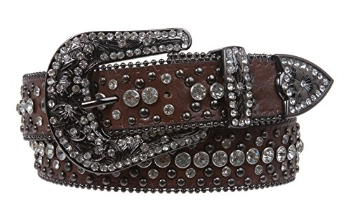 Snap On Rhinestone and Gun Metal Color Circle Studded Leather Belt, Brown | M/L - -