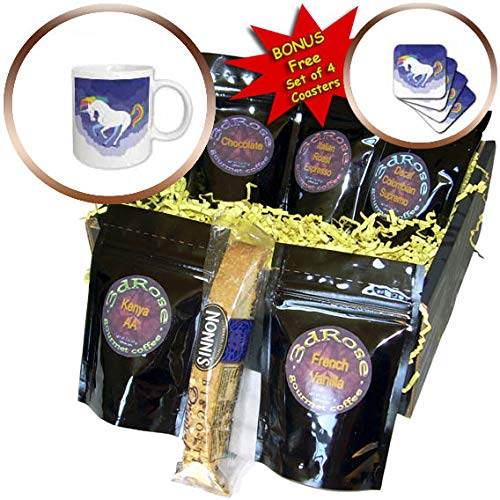 3dRose Sven Herkenrath Animal - Illustration of Funny Unicorn Horse with Dreaming Background - Coffee Gift Baskets - Coffee Gift Basket (cgb_294931_1) by 3dRose
