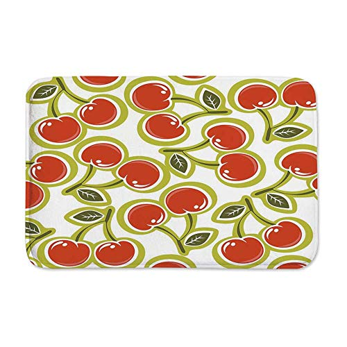 YOLIYANA Fruit Anti Slip Rubber Back Doormat,Sweet Yummy Ornate Cherry and Leaves Pattern Fresh Food Fun Art Picture for Living Room,23