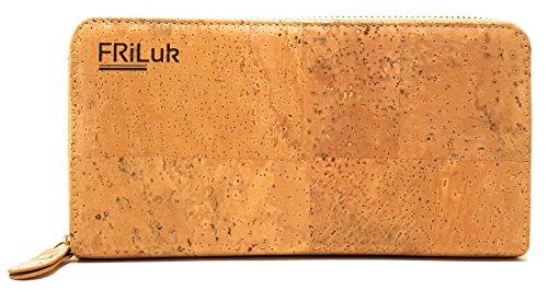 FRiLuk Vegan Purse Wallet RFID Blocking for Women Made of Cork (Beige Fabric Wallet)