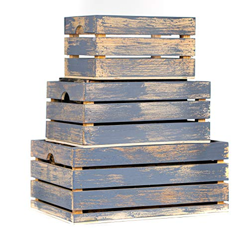 Winship Stake and Lath, Inc. Rustic Decorative Wood Crates (Set of 3) - Cottage Grey Distressed