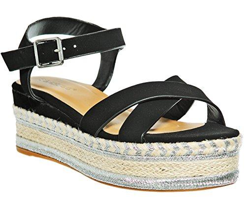 Cross Band Trim Platform Pumped up Sandals (7.5, Blknub)[Apparel]