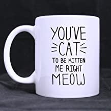 Funny Cat Kitten Mug, You've Cat To Be Kitten Me Right Meow White Ceramic Coffee Mugs Cup - 11oz sizes