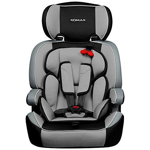 XOMAX XM-K3 Grey Autokindersitz + Gruppe I / II / III (9 - 36 kg) + ECE R44/04 geprüft + Farbe: Grau, Hellgrau, Schwarz + mitwachsend + 5-Punkte-Sicherheitsgurt + Kopfstütze verstellbar + Rückenlehne abnehmbar + Bezüge abnehmbar & waschbar