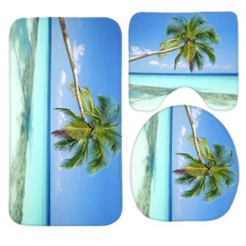 (Sandy Tropical Paradise Beach with Palm Trees and the Sea Ocean Bath Mat Set,3 Piece Bathroom Mats Set Non-Slip Bathroom Rugs/Contour Mat/Toilet Cover by TEYAYA)