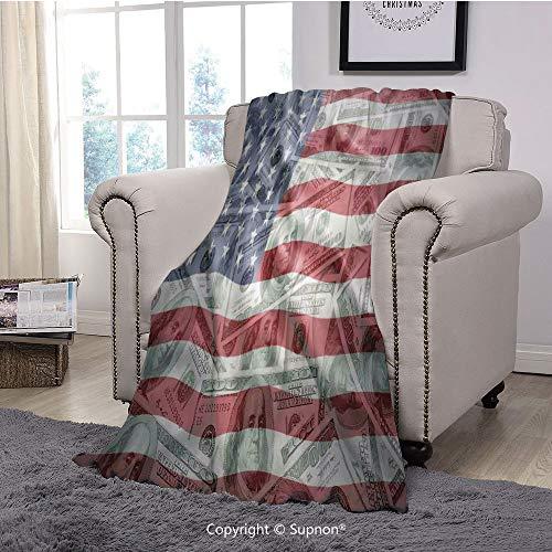 BeeMeng Throw Blanket/Super Soft Fuzzy Light Blanket,American Flag Decor,American Dollar on Flag Money Currency Exchange Value Global Finance Idol,Multi(51