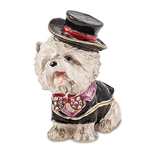 (Jere Luxury Giftware Bejeweled R. Butler Tuxedo Dog, Pewter with Enamel Collectible Trinket Box with Matching Pendant Necklace)