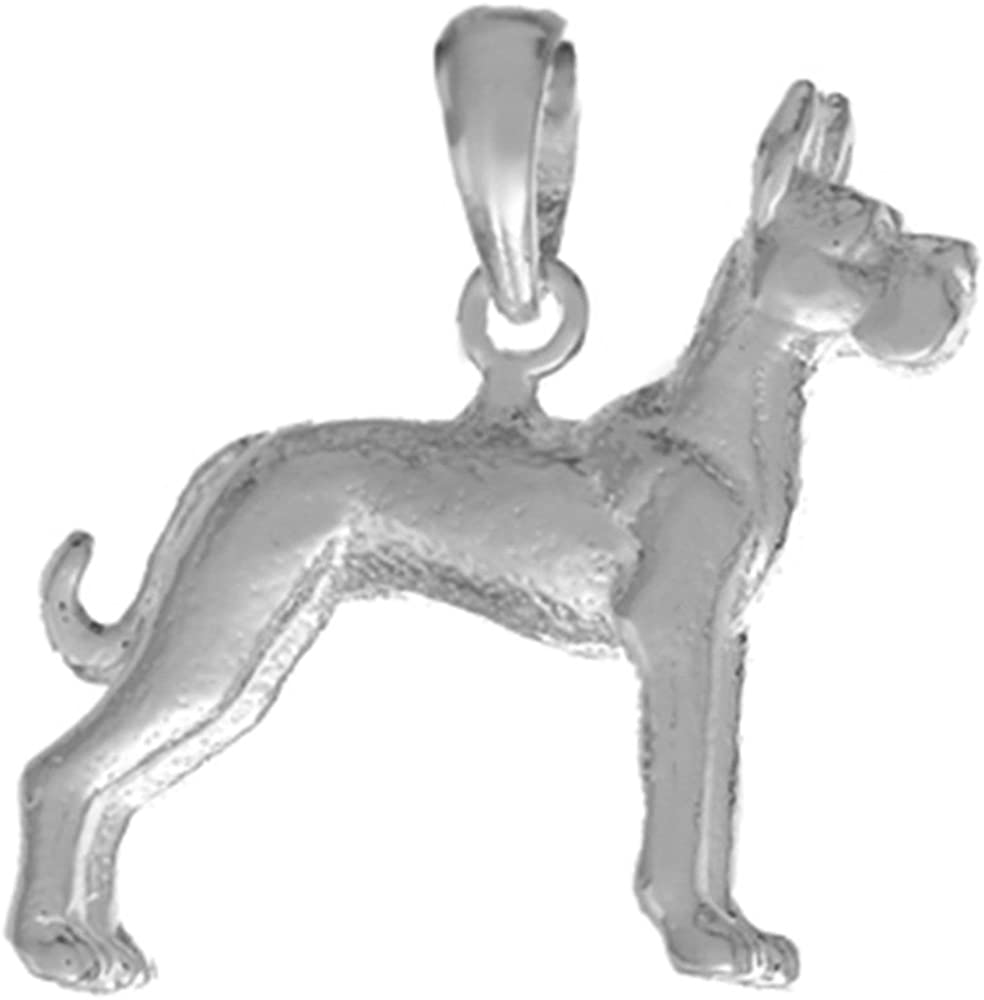 3-D Great Dane Textured 925 Sterling Silver Dog Charm Pendant