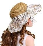 Bienvenu Little Girl Kids Summer Straw Hat Wide Brim Floppy Beach Sun Visor Hat,LightCoffee