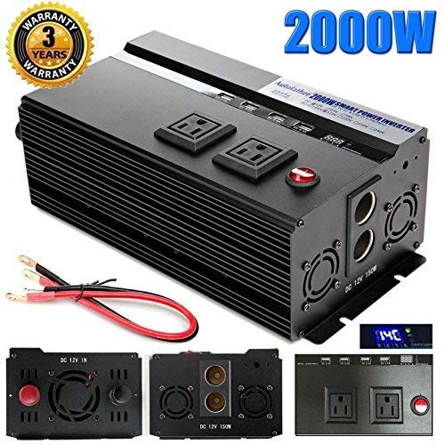 Digital Display 2000W Car Power Inverter DC 12V to AC 110V Modified Sine Wave Converter wtih 4 USB Ports Adapters for Device Electronic Charging, 3 Year Warranty