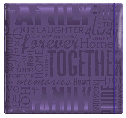 MCS MBI 13.5x12.5 Inch Embossed Gloss Expressions Scrapbook Album with 12x12 Inch Pages, Deep Purple, Embossed