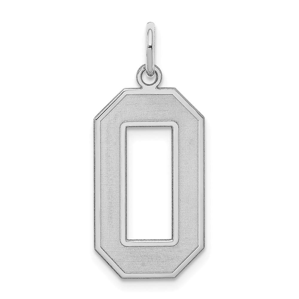 Beautiful Sterling silver 925 sterling Sterling Silver Rhodium-plated Large Satin Number 0 Charm