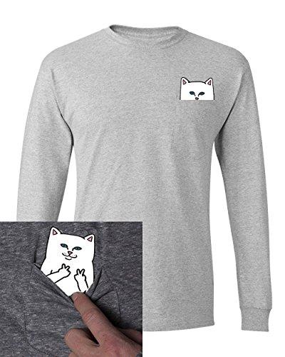Pocket Cat Shirt Finger Peace Sign Unisex Pocket Long Sleeve T Shirt Grey S -