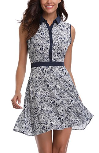 MISS MOLY Women's Sleeveless Turn Down Collar Printed A-Line Mini Slim Fit Above Knee (Above Knee Dress)