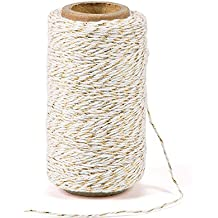 328 Feet Cotton Baker's Twine Gift Wrapping Holiday Twine Wedding Christmas String Cotton Cord Rope Gold Metallic