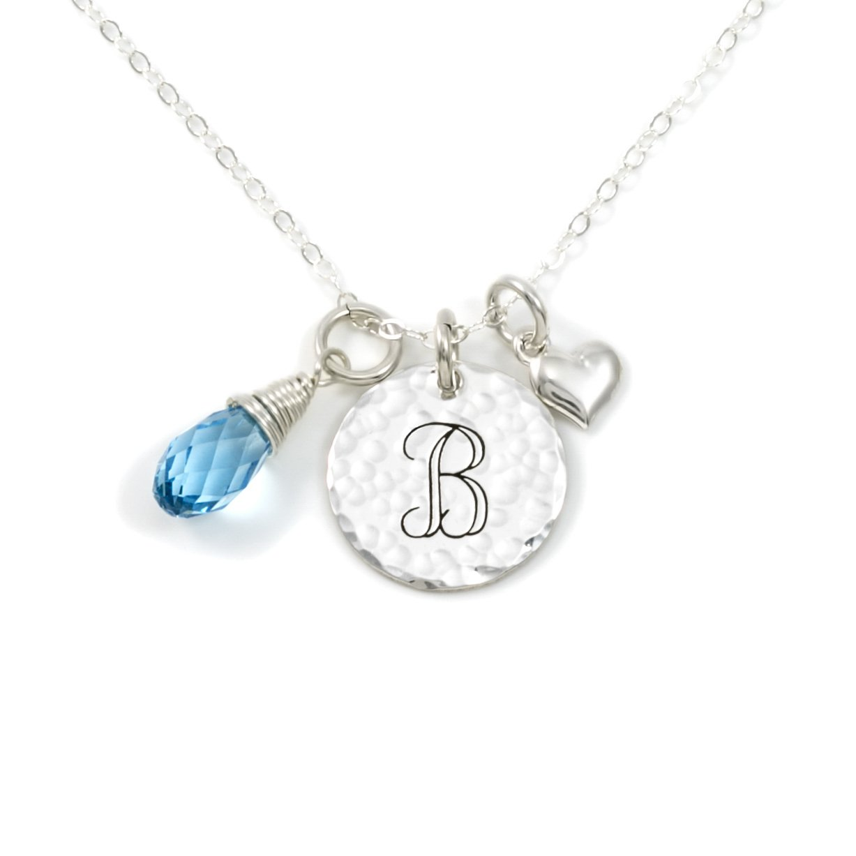 AJ's Collection Keep It Simple- Personalized Sterling Silver Initial Monogram and Heart Charm Necklace with Swarovski Birthstone Briolette. Chic Gifts for Her, Wife, Girlfriend, and More