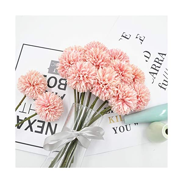 Jasion 10pcs Artificial Chrysanthemum Ball Flowers Bouquet for Present Home Office Coffee House Parties and Wedding Decoration (Light Pink)
