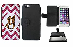 Leopard Print Custom Monogrammed and Pink Glitter Chevron Initial Y Leather Phone Case Cover with Credit Card Holder Apple iPhone 6 Plus (5.5 Inches)