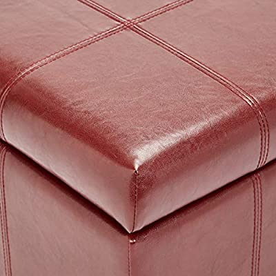 First Hill Damara Lift-Top Storage Ottoman Bench with Faux-Leather Upholstery